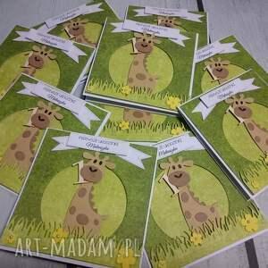 żyrafka scrapbooking kartki zielone kartka/zaproszenie na