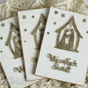 pomysł na prezent boże-narodzenie kartki ze stajenką - 3 sztuki