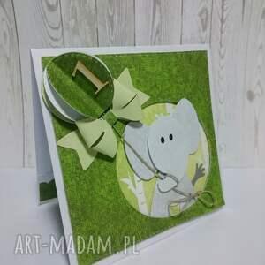zielone scrapbooking kartki słonik katka/zaproszenie w