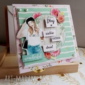 różowe scrapbooking kartki motto kobieca kartka dbaj o siebie