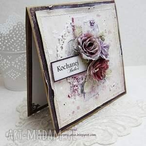 scrapbooking kartki różowe kochanej babci