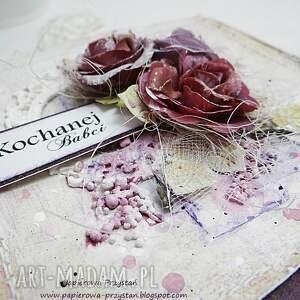 fioletowe scrapbooking kartki groszki kochanej babci