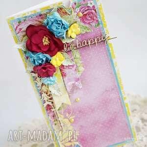 turkusowe scrapbooking kartki kartka-urodzinowa kolorowa be happy w pudełku