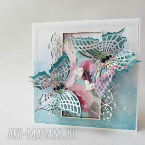 ślub scrapbooking kartki turkusowe kolorowe motyle