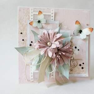 różowe scrapbooking kartki rocznica kolorowo - w pudełku
