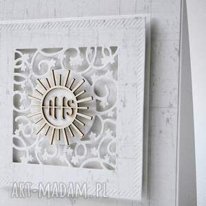 białe scrapbooking kartki zaproszenie komunia - 15 sztuk