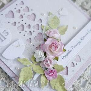 różowe scrapbooking kartki komunijna z sercami