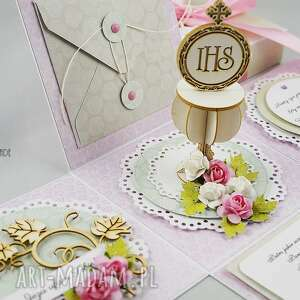 komunia scrapbooking kartki różowe komunijny exploding-box dla