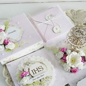 prezent scrapbooking kartki różowe komunijny exploding box -