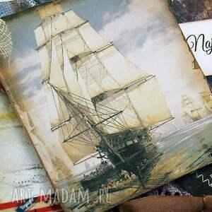 morze scrapbooking kartki beżowe kopertówka męska- żaglowiec