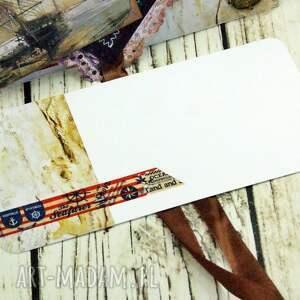 trendy scrapbooking kartki morze kopertówka męska- żaglowiec