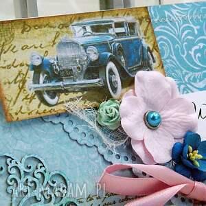 wesele scrapbooking kartki turkusowe kopertówka ślubna - retro błękity