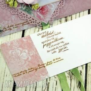 prezent scrapbooking kartki kopertówka ślubna- wiosenne kwiaty
