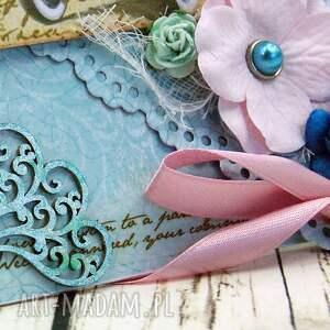 brązowe scrapbooking kartki ślub kopertówka ślubna - retro błękity
