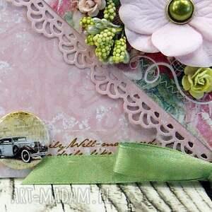 ręczne wykonanie scrapbooking kartki ślub kopertówka ślubna- wiosenne kwiaty