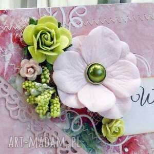 zielone scrapbooking kartki ślub kopertówka ślubna- wiosenne kwiaty