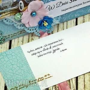 ręczne wykonanie scrapbooking kartki wesele kopertówka ślubna - retro błękity