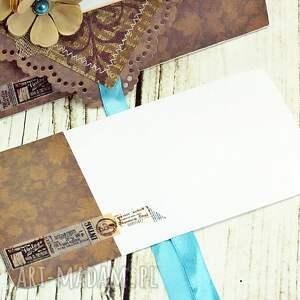 niepowtarzalne scrapbooking kartki ślub kopertówka uniwersalna - turkusy