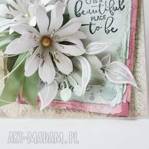 hand made scrapbooking kartki mama kwiatowa - w pudełku