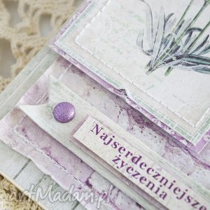scrapbooking kartki kartka lawendowe życzenia