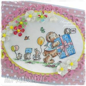 ręcznie robione scrapbooking kartki dziewczynka mam roczek - kartka urodzinowa dla