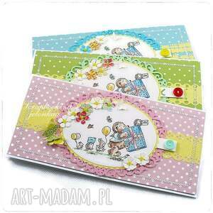 ręcznie robione scrapbooking kartki miś mam roczek - kartka urodzinowa dla