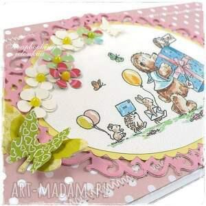 scrapbooking kartki miś mam roczek - kartka urodzinowa dla