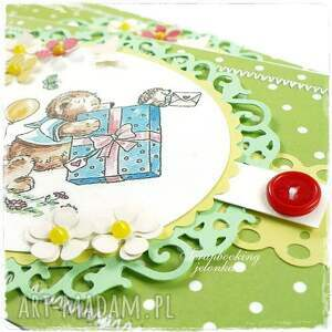 żółte scrapbooking kartki roczek mam - kartka urodzinowa