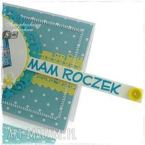 chłopiec scrapbooking kartki turkusowe mam roczek - kartka urodzinowa dla