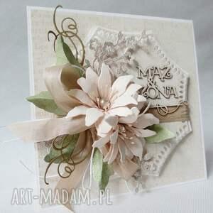ślub scrapbooking kartki beżowe mąż & żona - kartka w pudełku