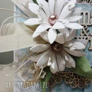 ślub scrapbooking kartki białe mąż & żona - kartka w pudełku