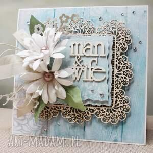 turkusowe scrapbooking kartki rocznica mąż & żona - kartka w pudełku