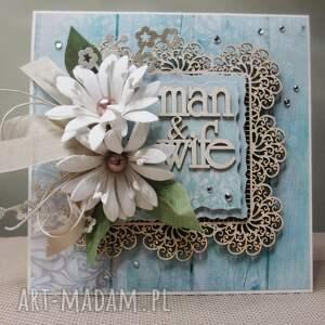 scrapbooking kartki ślub mąż & żona - kartka w pudełku