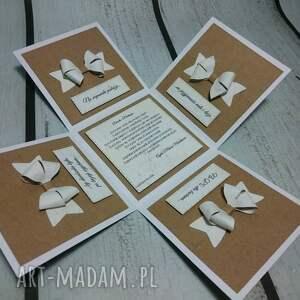 białe scrapbooking kartki ślub minimalistyczny eko exploding box