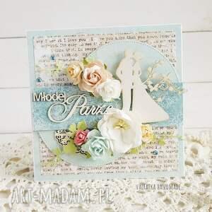 hand made scrapbooking kartki ślub młodej parze. Kartka w pudełku, 663