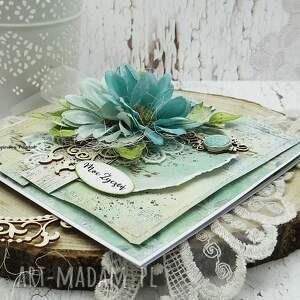 zielone scrapbooking kartki kartka ślubna moc życzeń