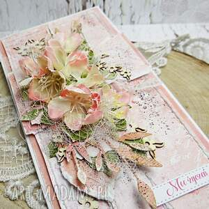 scrapbooking kartki różowe moc życzeń - kartka z pudełkiem
