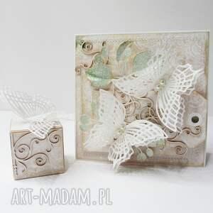 unikalne scrapbooking kartki życzenia motyle - kartka w ozdobnym pudełku