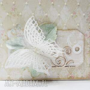 scrapbooking kartki życzenia motyle - kartka w ozdobnym pudełku