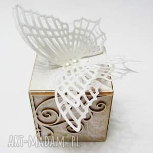 unikalne scrapbooking kartki ślub motyle - kartka w ozdobnym pudełku