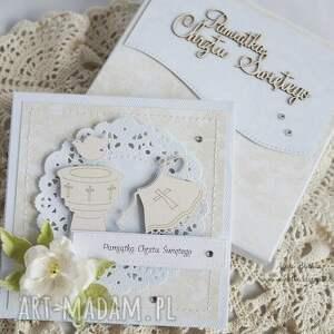 scrapbooking kartki: Na Chrzest - z białą szatką - chrzciny kartka