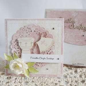 różowe scrapbooking kartki chrzest-święty na chrzest - z białą szatką