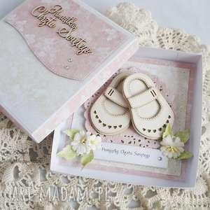 różowe scrapbooking kartki kartka-chrzcielna na chrzest - z bucikami