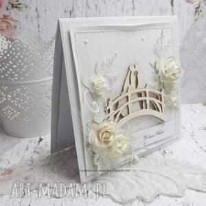 ślub białe na mostku - kartka ślubna w