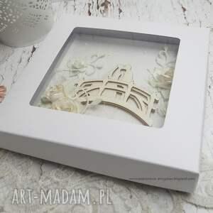 kolorowe scrapbooking kartki pudełko na ślub na mostku - kartka ślubna w