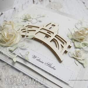 ręczne wykonanie scrapbooking kartki na mostku - kartka ślubna w