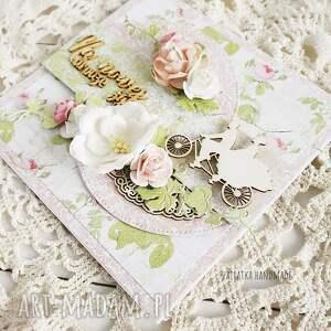 różowe scrapbooking kartki wesele na nowej drodze życia. Kartka