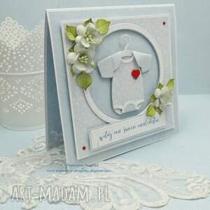 niemowlę scrapbooking kartki niebieskie na powitanie dla maleństwa - z