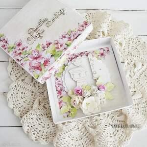 chrzciny scrapbooking kartki różowe pamiątka chrztu dziewczynki, 488