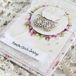 Vairatka Handmade różowe scrapbooking kartki chrzest pamiątka chrztu świętego